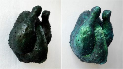 Cool and warm temperature colour difference on sculpture of Ayam Cemani chicken breed